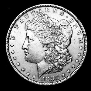 1880-P-ABOUT-UNCIRCULATED-AU-Silver-Morgan-Dollar-Rare-US-Old-Coin-P61