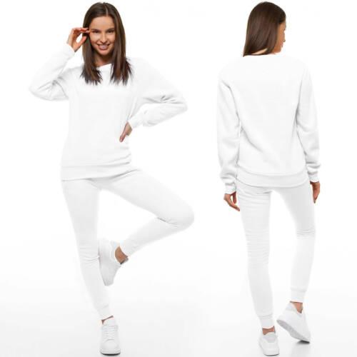 Trainingsanzug Hose Jogginganzug Sweatshirt Pulli Basic Unifarben Damen CKW01