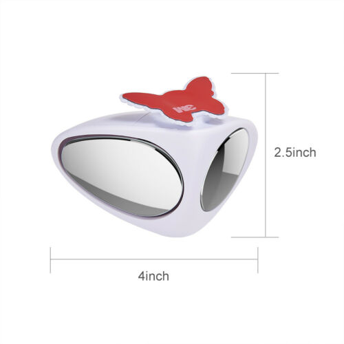 2x Car White Blind Spot Mirrors Front Rear Wheel Wide Angle Blindspot Side View