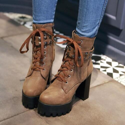 Womens High Block Heel Ankle Boots Lace Up Punk Rivets Platform Casual Chic D255