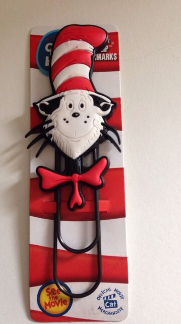 "Dr. Seuss 5 3/4"" Cat in the Hat Cool Clip Bookmark New ~Free Shipping"