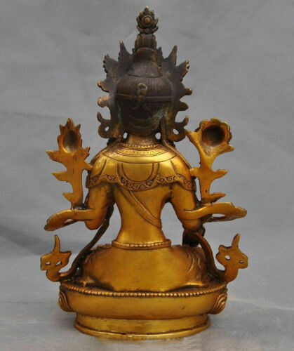 Old Tibet buddhism bronze Gilt White tara kwan-yin GuanYin statue buddha