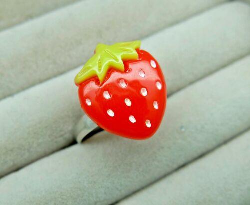 Erbeer Kinderring Ø14mm-19mm Ring für Kinder Kinderschmuck Geschenk Erdbeere
