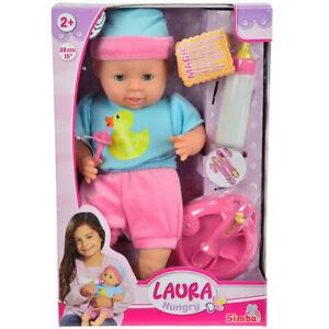 38-cm-Babypuppe-mit-Puppenzubehoer-Kinderpuppe-Weichkoerperpuppe-Spielpuppe-Puppe