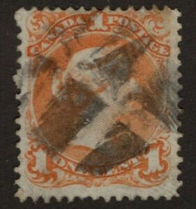 CANADA-used-23a-1c-FANCY-CANCEL-Large-Queen-Issue-1868-F-VF