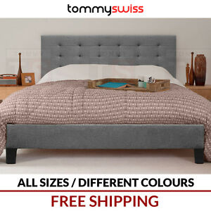 TOMMY-SWISS-DELUXE-KING-QUEEN-amp-DOUBLE-Tufted-Fabric-Upholstered-Bed-Frame