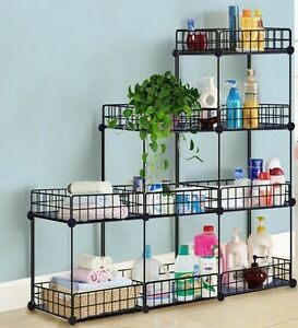 grid wire modular shelving and storage cubes easy assembly usa seller ebay. Black Bedroom Furniture Sets. Home Design Ideas