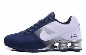 low priced dafab c393b Image is loading MENS-BLUE-AND-WHITE-NIKE-SHOX-ATHLETIC-RUNNING-