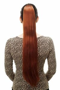 Postiche-Tresse-Tres-Long-Lisse-Epingle-a-Cheveux-Papillon-Env-70cm-Rouge-Cheveu