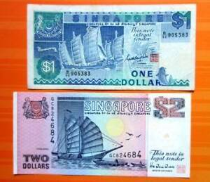 Circulated-Paper-Currency-One-Dollar-and-Two-Dollar-Notes-from-Singapore