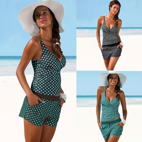 Bademode Damen Bikini Tankini Set Bikinihose Shorts Gepunktet Badeanzug Gr.34-42