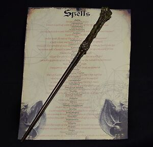 Harry potter wand with spell list amazing present ebay for Elder wand spells