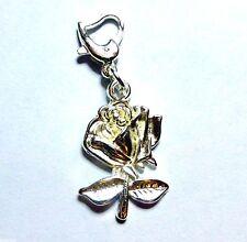 Bright Shiny Tibetan Silver Rose Flower Clip-on Clasp Charm 4 European Bracelet