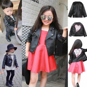 b0feeb42464b Spring Winter Girl Boy Kids Baby Outwear Leather Coat Short Jacket ...