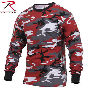 59b9902340e Men s Red Camo Long Sleeve T-Shirt - Rothco Colored Camo Poly Cotton ...