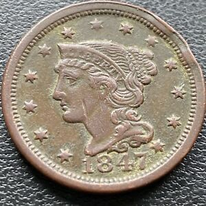 1847 Large Cent Coronet Head One Cent 1c Higher Grade  #2217