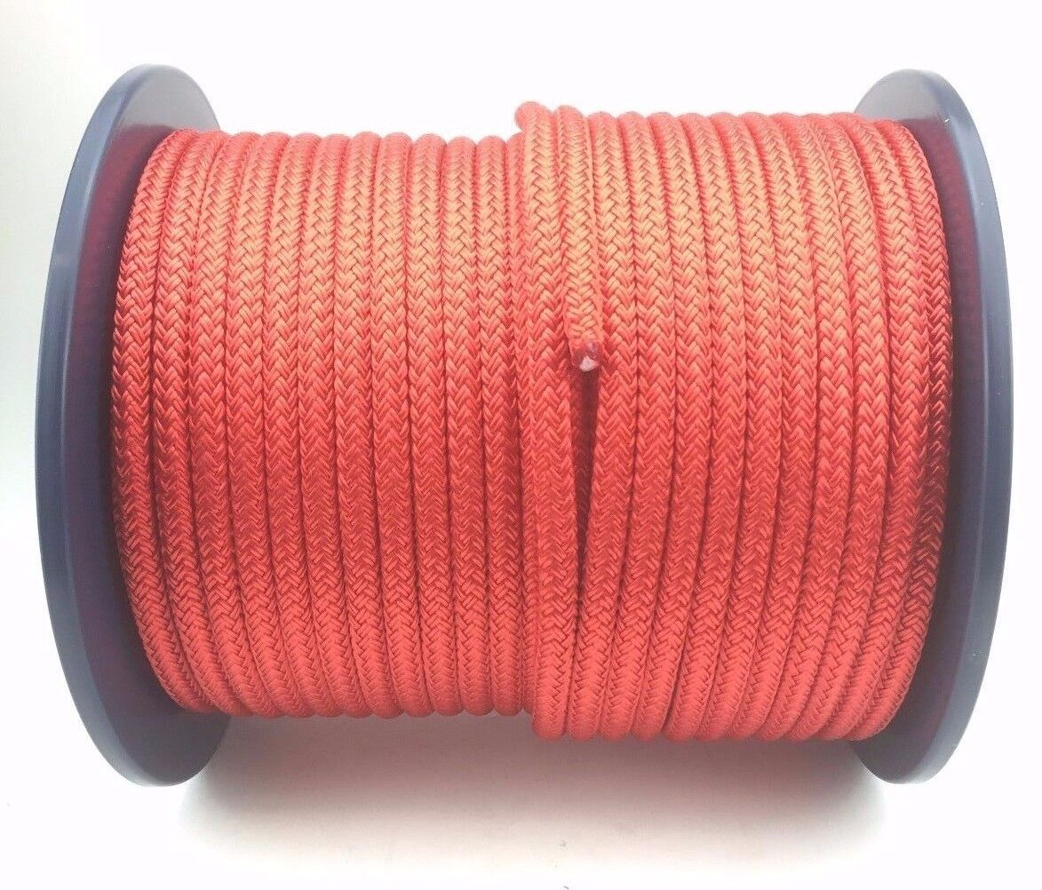 6mm Red Polyester x 50 Metres, Braid on Braid Marine Rope Double Braid Polyester