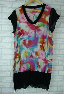 TS-Shift-Dress-Sz-16-14-Black-Pink-Blue-Print