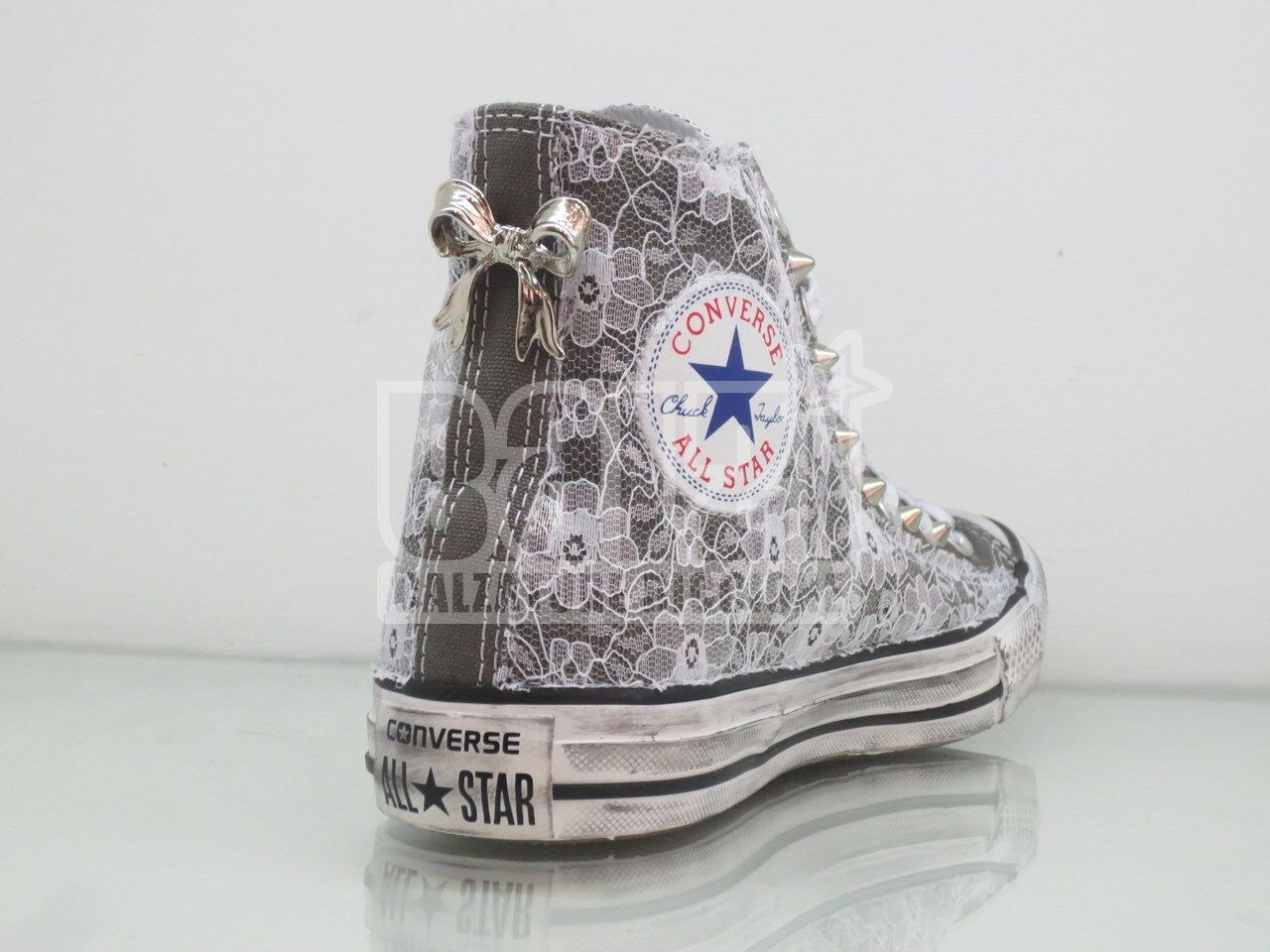 Converse All Star Lace Studded Bow Grey Charcoal Vintage Craft