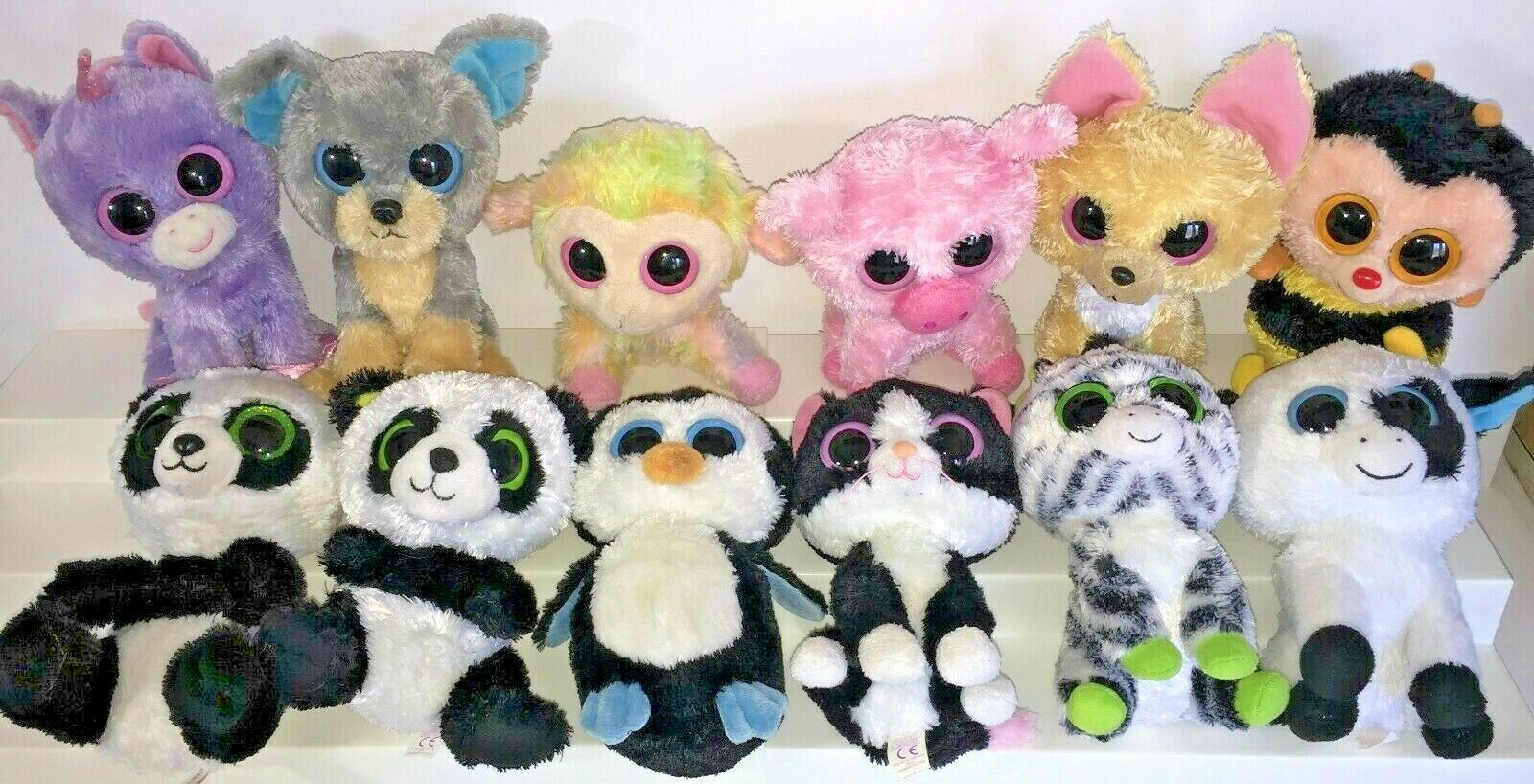 Ty Beanie Boos 12 Nacho Scraps Sting Bee Corky Rainbow 6  Plush Solid Eyes Lot 4