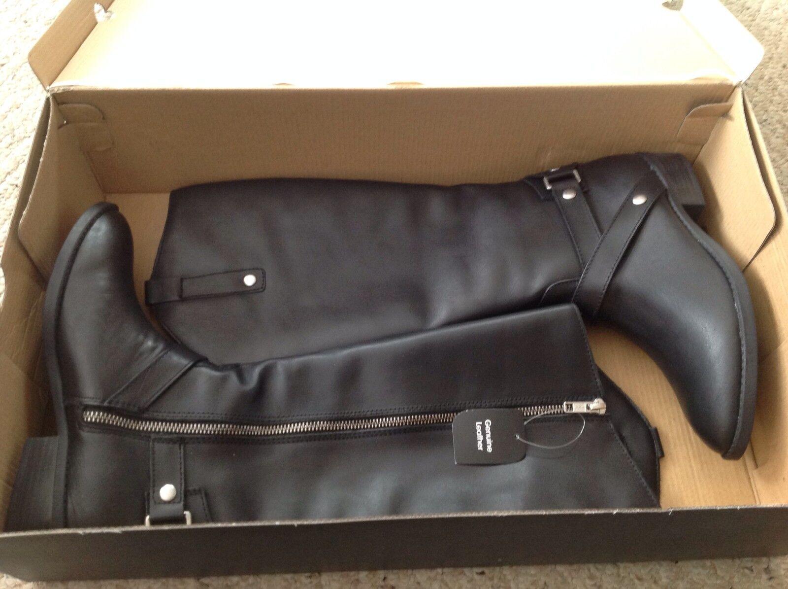 Nueva Pero Sin Caja Wmns SUECO 6.5 M Negro Cuero botas, Lote 7044, LC Renea. Liz claborne