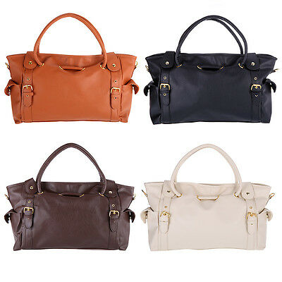 Womens Lady OL Fashion PU Leather Big Capacity Tote Handbag Shoulder Bag