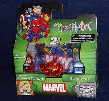 """Marvel MiniMates 48 """"FLAME-ON"""" HUMAN TORCH & BLASTAAR Figure 2 PK Fantastic Four"""
