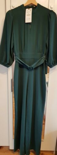 ZARA Tailles XS L vert bouteille LONG Belted Jumpsuit BNWT AW19 soldout S M