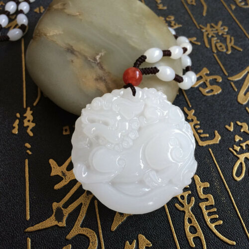 China 100/% natural Nephrite hetian jade handcarved LUCKY PIXIU pendant+Necklace