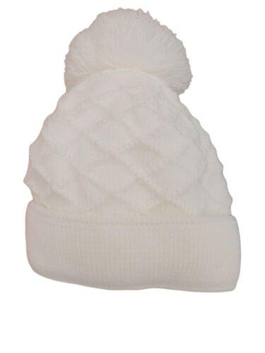 BNWT Baby girls boys unisex pink blue white winter pom poms bobble hat 6m to 3 Y