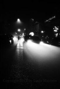 Foggy-Frenchmen-Street-by-Night-NEW-ORLEANS-13x19-Print-SIGNED-by-Louis-Maistros