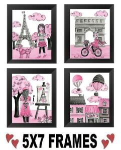 5x7-Pink-Paris-Pictures-Eiffel-Tower-Poodle-France-Wall-Hangings