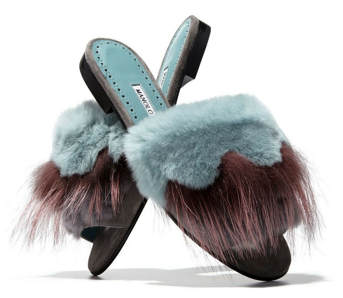 $995 Flat NEW Manolo Blahnik PELOSUSRAFO PELOSUS Fur Slide Flat $995 Sandal Blue Shoes 37 1b1107