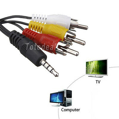 New 3.5mm Jack Plug to 3 RCA Male Connectors Adapter Audio Video Cable AV DV MP4