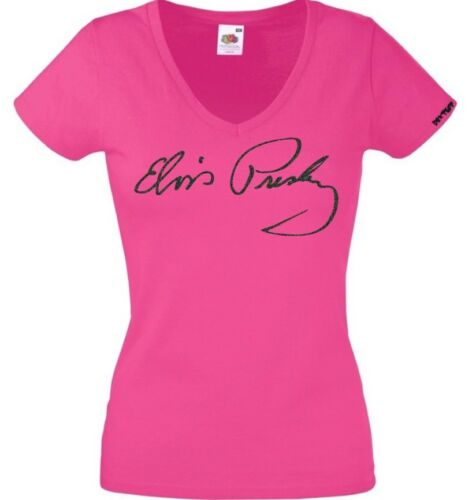 Stunning Ladies Fitted Fuchsia Elvis Presley Signature Sparkly Black T Shirt L