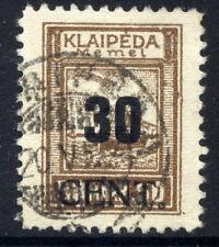 MEMEL (Lithuanian Occ) 1923 (June) 30 CENT  on 50 Mk used