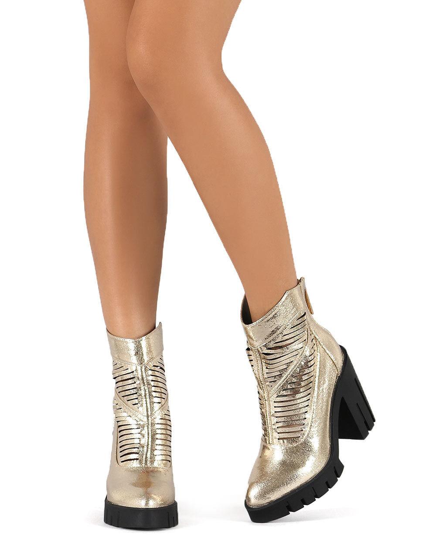 New Women Miss L whiteh Metallic Cutout Pointy Toe Lug Sole Chunky Heel Bootie