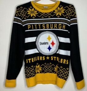 Details about Vintage Junk Food Pittsburgh Steelers Ugly Christmas Sweater NFL Football Men L