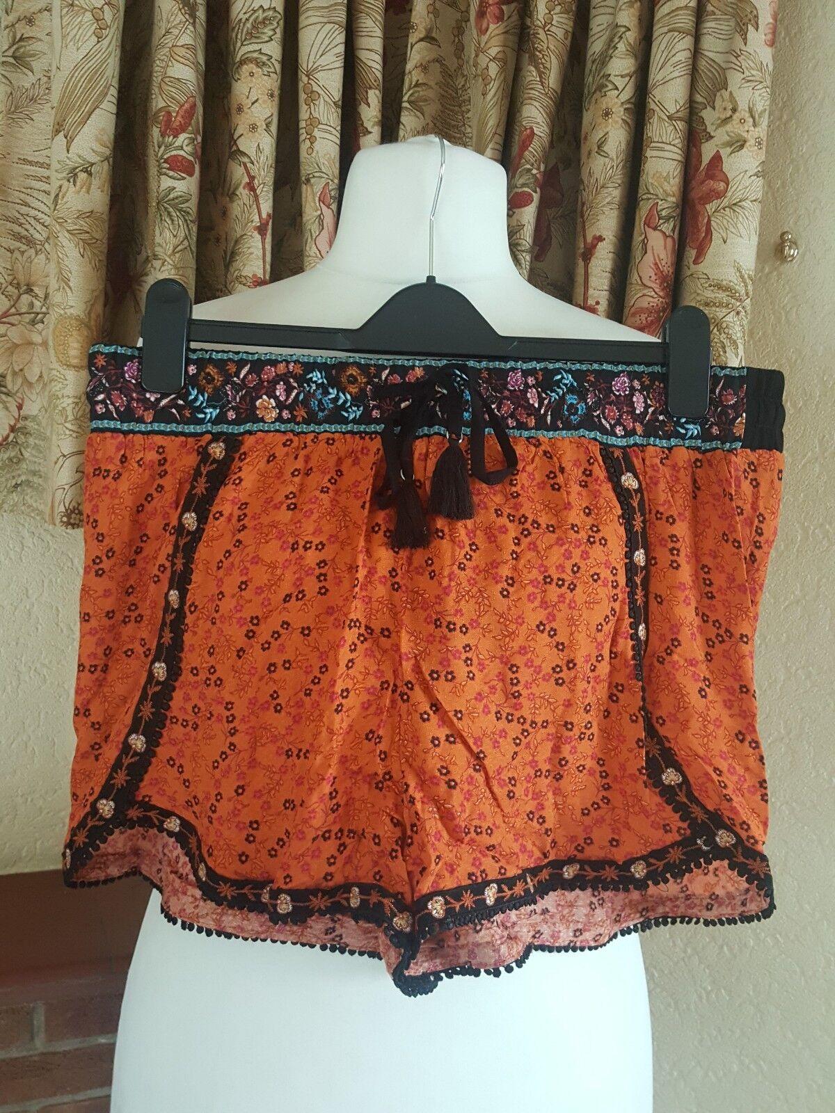 Señoras Pantalones cortos de óxido óxido óxido Ditsy bordado Runner-nueva Imagen Talla 16-vacaciones de verano eb4812