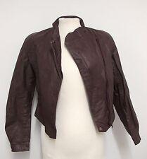 VINTAGE 80s Leather JACKET Shoulder Pads POWER JACKET/Disco Brown S Ladies