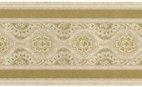 Victorian Vintage Faux Fabric Floral Beige Gold Tan Satin Wallpaper Wall Border