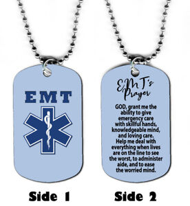 DOG-TAG-NECKLACE-EMT-1-Emergency-Medical-Technician-039-s-Prayer-Birthday-Gift