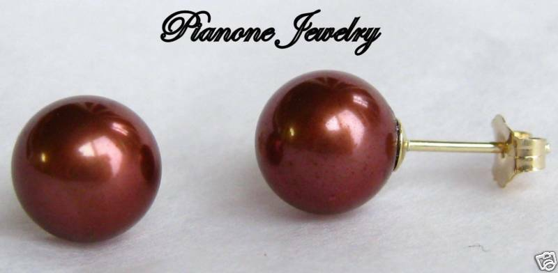 14k Yellow gold Chocolate Pearl Earrings 7-7.5mm Round