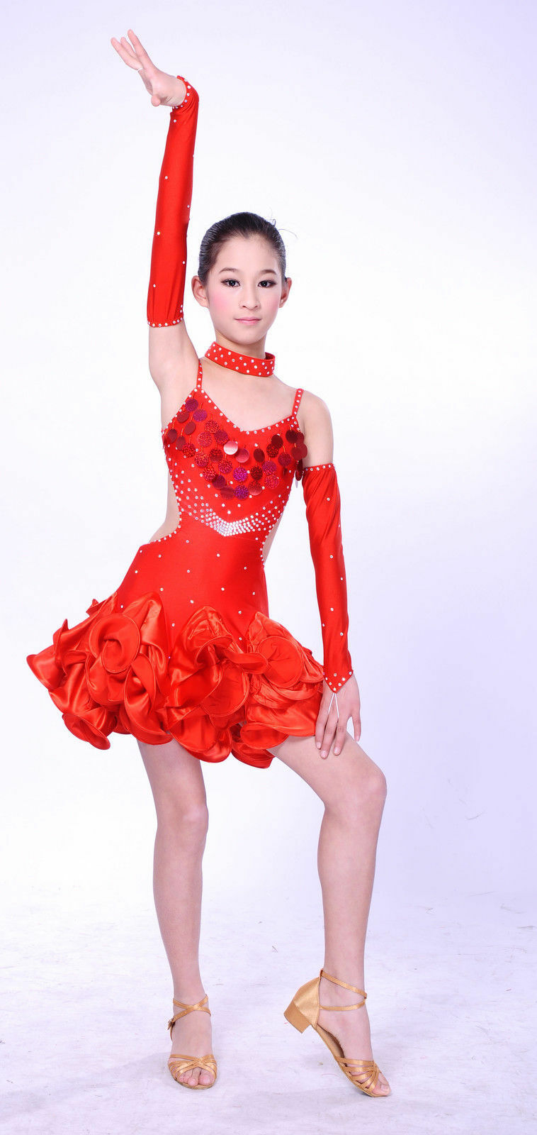 COMPETITION ICE DANCE FIGURE SKATING DRESS Salsa Tango Red  w Crystals Adult XL  honest service