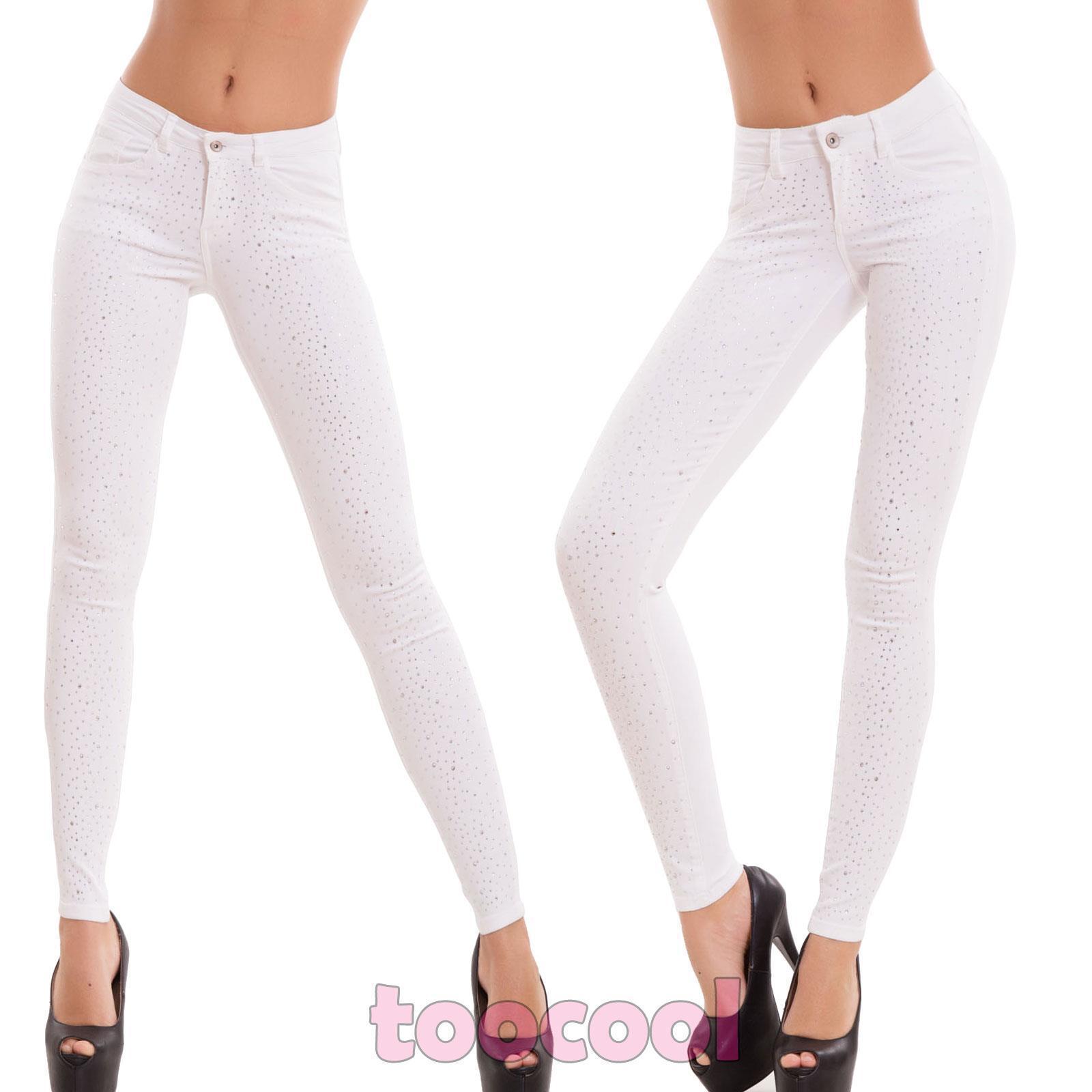 Frauen jeanshose strass skinny schlank zigarette elastisch neu H5820