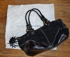 FRANCESCO BIASIA woman handbag satchel Split Leather purse Black EUC