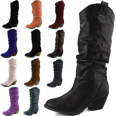 Womens Western Cowboy Boots Mid Calf Casual Slouch PU Cowgirl Chunky Heel Shoes