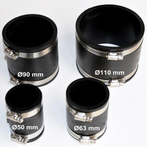 Ø 40 mm Flexible Muffe Gummimuffe Flex PVC Rohr Muffe Flexmuffe Rohrverbindung