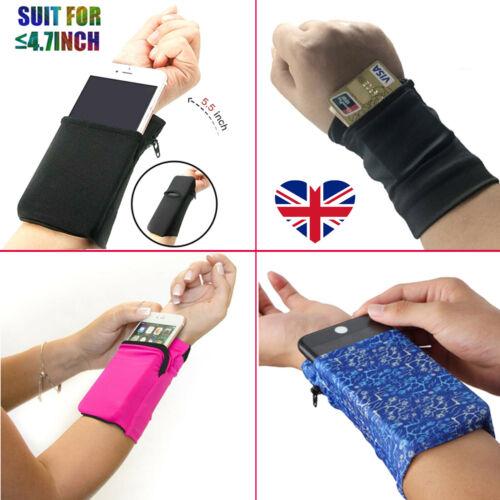 Wrist Wallet Big Pouch Band Zipper Running Travel Gym Cycling Safe Sport Bag UK