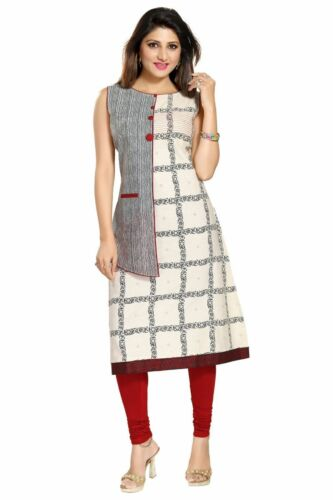 Evening Indian Party Cotton Kurta Kurti Tunic Dress Sleeveless Top Women MM154